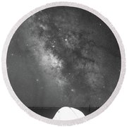 Camping Under The Galaxy Bw Round Beach Towel