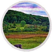 Canaan Valley Evening Impasto Round Beach Towel