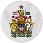 Canada Coat Of Arms Round Beach Towel