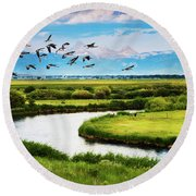 Canada Geese Entering Idaho's Teton Valley Round Beach Towel