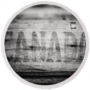 Canada In Black And White Round Beach Towel
