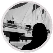 Canada Place Wings Silhouette Round Beach Towel