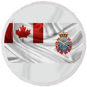 Canadian Armed Forces  -  C A F  Badge Over Flag Round Beach Towel
