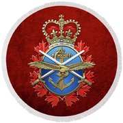 Canadian Armed Forces  -  C A F  Badge Over Red Velvet Round Beach Towel