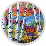Canadian Birches By Prankearts Round Beach Towel