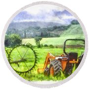 Canadian Farmland With Tractor Round Beach Towel