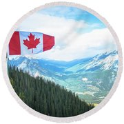 Canadian Flag Over Banff Round Beach Towel