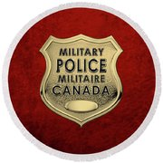 Canadian Forces Military Police C F M P  -  M P Officer Id Badge Over Red Velvet Round Beach Towel