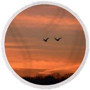 Canadian Geese Morning Flight Round Beach Towel