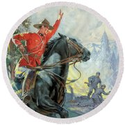 Canadian Mounties Round Beach Towel