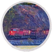 Canadian Pacific Reds Round Beach Towel