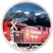 Canadian Pacific Trail Slices Through The Rockies Round Beach Towel