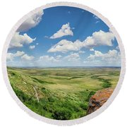 Canadian Prairie At Head-smashed-in Buffalo Jump Round Beach Towel