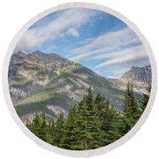Canadian Rockies Near Kicking Horse Pass Round Beach Towel