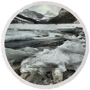 Canadian Rockies Rugged Winter Landscape Round Beach Towel