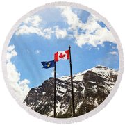 Canadian Rockies - Digital Painting Round Beach Towel