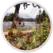 Canadian Sunday Out By The Lake Round Beach Towel