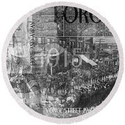 Canadian Wwi Nostalgic Collage Round Beach Towel