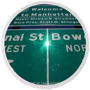 Canal And Bowery Round Beach Towel