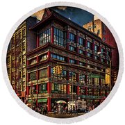 Canal And Center Streets New York City Round Beach Towel
