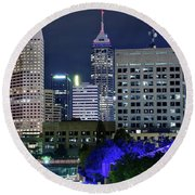 Canal At Night Round Beach Towel