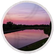 Canal At Sunset Round Beach Towel