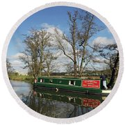 Canal Boat On Wey Navigations Round Beach Towel