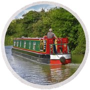 Canal Boat Round Beach Towel