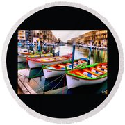 Canal Boats On A Canal In Venice L A S Round Beach Towel