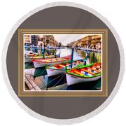 Canal Boats On A Canal In Venice L A S With Decorative Ornate Printed Frame.  Round Beach Towel