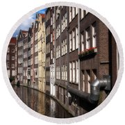 Canal Houses Round Beach Towel