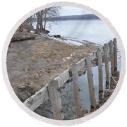 Canal Meets River Round Beach Towel