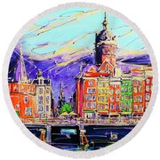 Canal Of Amsterdam, Storm Is Comming Round Beach Towel