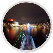 Canal Streaking Abstract Round Beach Towel