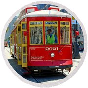 Canal Street Cable Car Round Beach Towel