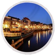 Canal Thorbeckegracht In Zwolle At Dusk With Boats Round Beach Towel