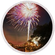 Canal View Of Fire Works Round Beach Towel
