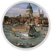 Canaletto: Thames, 18th C Round Beach Towel