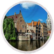 Canals Of Bruges Round Beach Towel