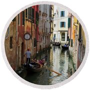 Canals Of Venice Italy Round Beach Towel