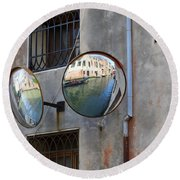 Canals Reflected In Mirrors In Venice Italy Round Beach Towel