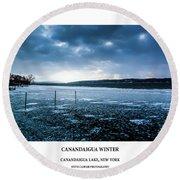 Canandaigua Lake Winter Round Beach Towel