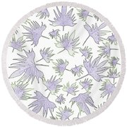 Canary Vine Leaves - Purple And Green Round Beach Towel