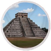 Cancun Mexico - Chichen Itza - Temple Of Kukulcan-el Castillo Pyramid 2 Round Beach Towel