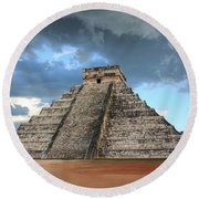 Cancun Mexico - Chichen Itza - Temple Of Kukulcan-el Castillo Pyramid 3  Round Beach Towel