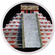 Cancun Mexico - Chichen Itza - Temple Of Kukulcan-el Castillo Pyramid Night Lights 1 Round Beach Towel