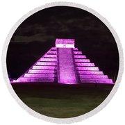 Cancun Mexico - Chichen Itza - Temple Of Kukulcan-el Castillo Pyramid Night Lights 2 Round Beach Towel
