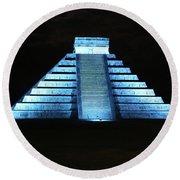 Cancun Mexico - Chichen Itza - Temple Of Kukulcan-el Castillo Pyramid Night Lights 3 Round Beach Towel