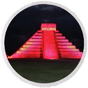 Cancun Mexico - Chichen Itza - Temple Of Kukulcan-el Castillo Pyramid Night Lights 4 Round Beach Towel