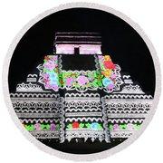 Cancun Mexico - Chichen Itza - Temple Of Kukulcan-el Castillo Pyramid Night Lights 8 Round Beach Towel